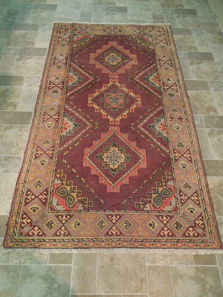 Brown Geometric Kazak Hand Knotted Rug 5x8 Area Rugs Verni