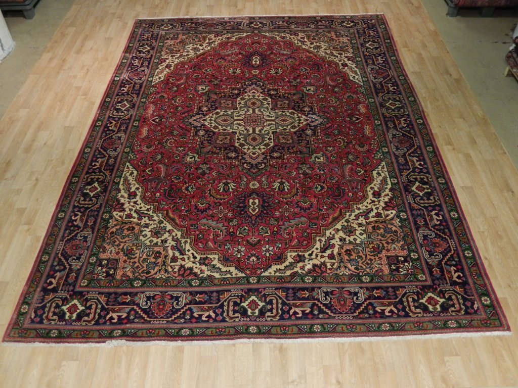 Red-Navy Blue 8x12 Persian Tabriz Rug Home Decor Oriental