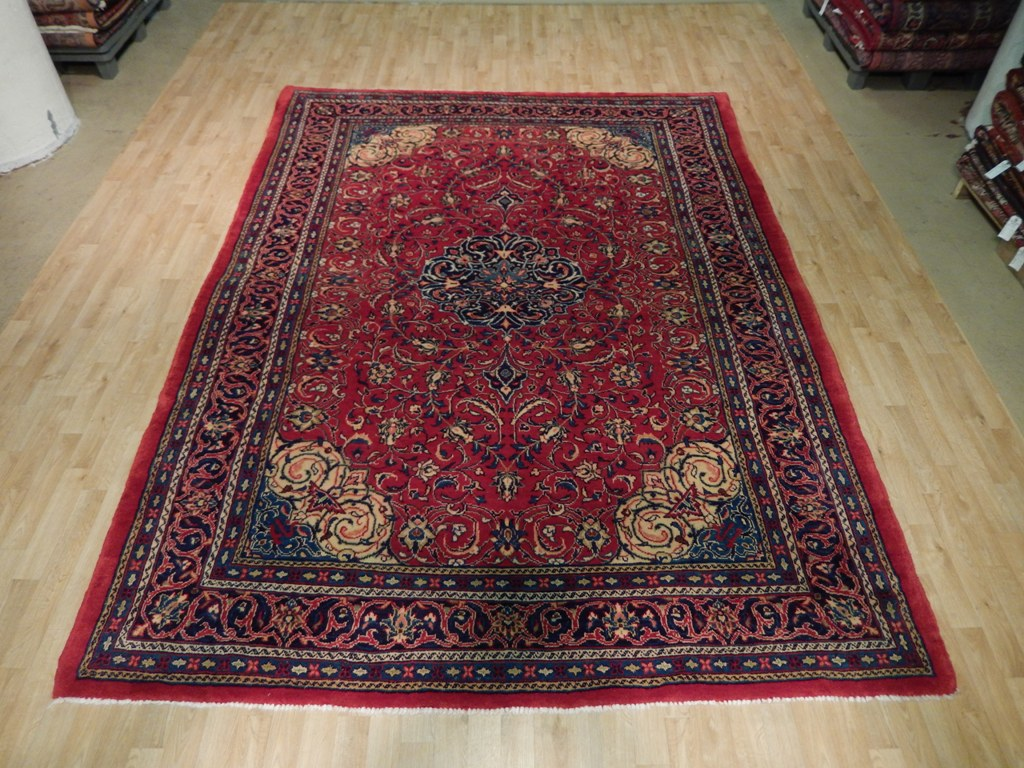 Red Navy Blue Persian Hand Knotted 8 X 11 Area Rug Isfahan