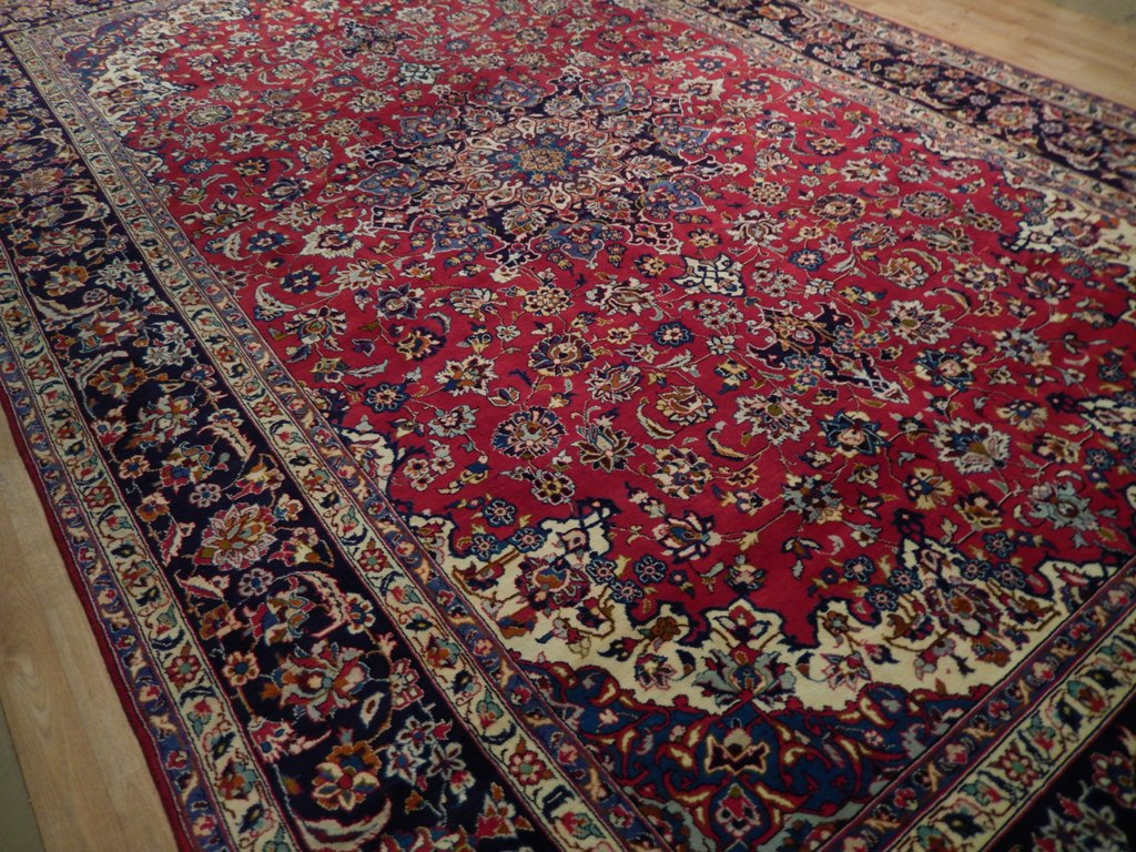 Red navy blue hand knotted rug genuine tabriz 10x16 for Red and navy rug