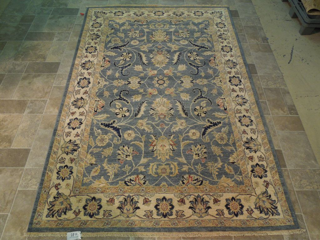 blue beige vegetable dyed rug handmade 5x8 wool area rug