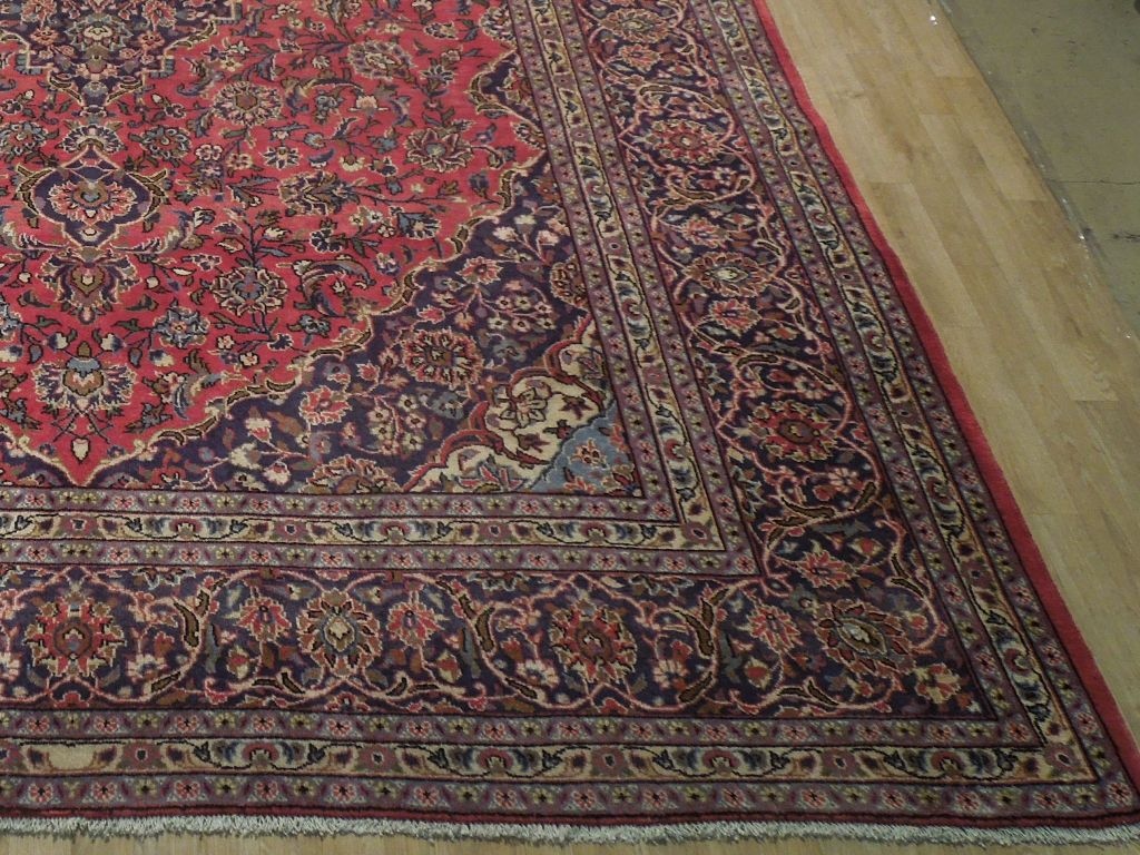 Tomato Red Kashan Rug 10 X 14 Persian Antique Reproduction