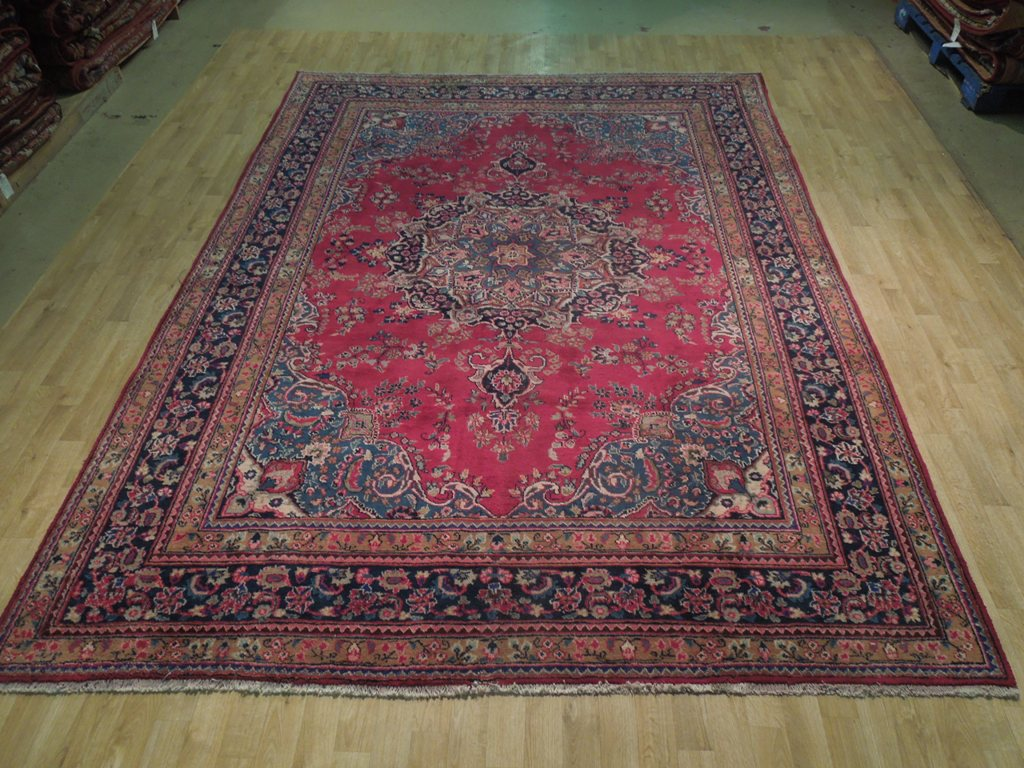 Large medallion handmade area rug traditional sarouk 8x11 for Custom made area rugs