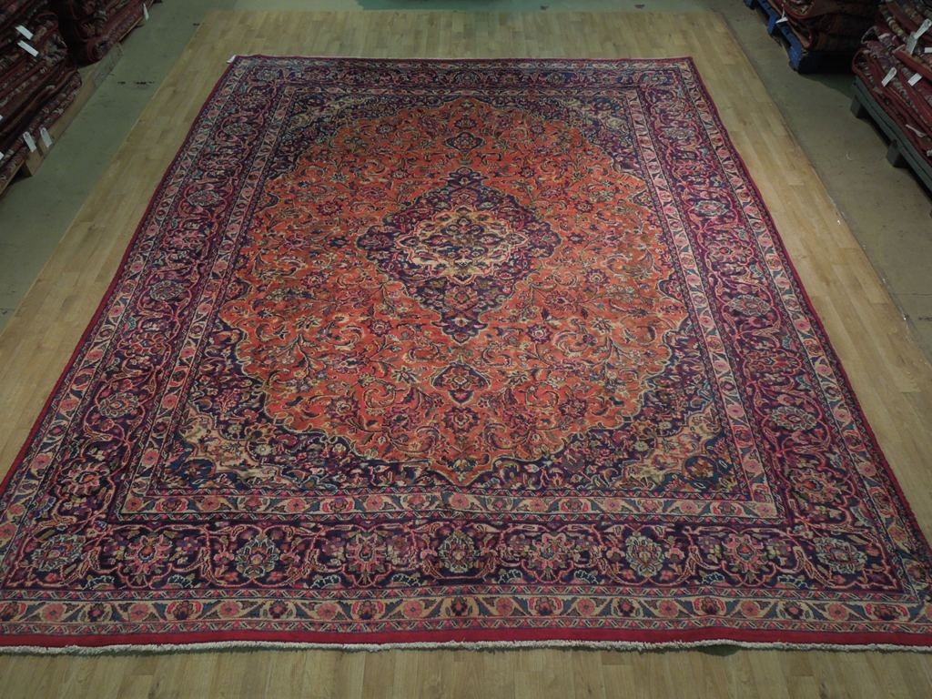 Orange Navy Blue Kashan Rug 10 X 12 Persian Hand