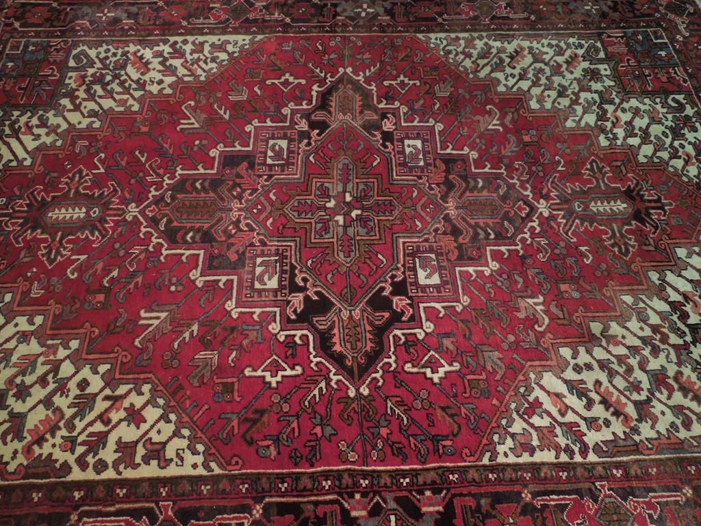Deep Red Heriz Estate Rug 8x11 Persian Classic Decor