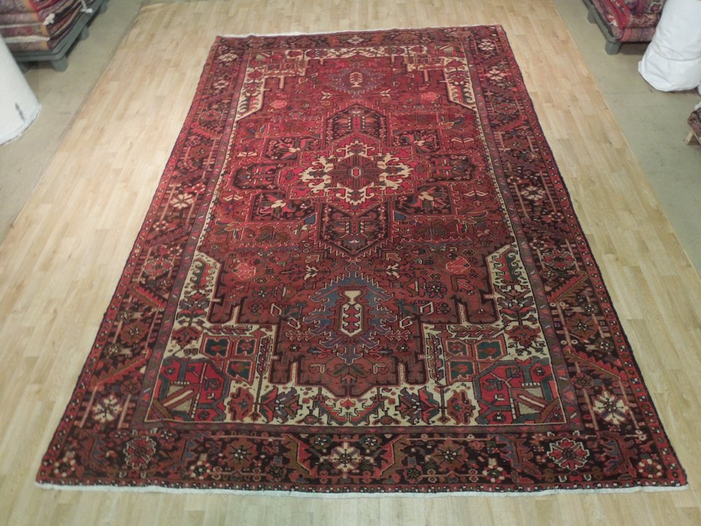burgundy traditional oriental rug hand knotted rug 8 39 x 12 39 persian heriz carpet ebay. Black Bedroom Furniture Sets. Home Design Ideas