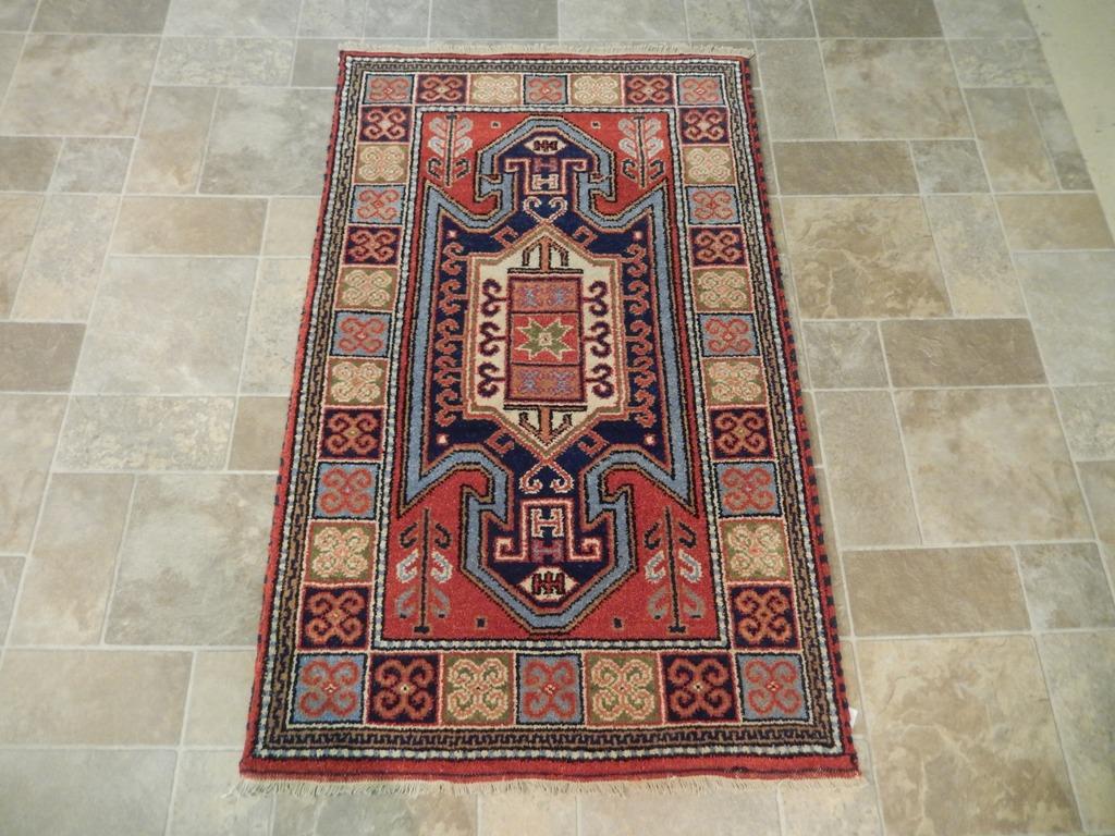 Geometric Carpet Home Decor Handmade 3' X 5' Kazak Wool