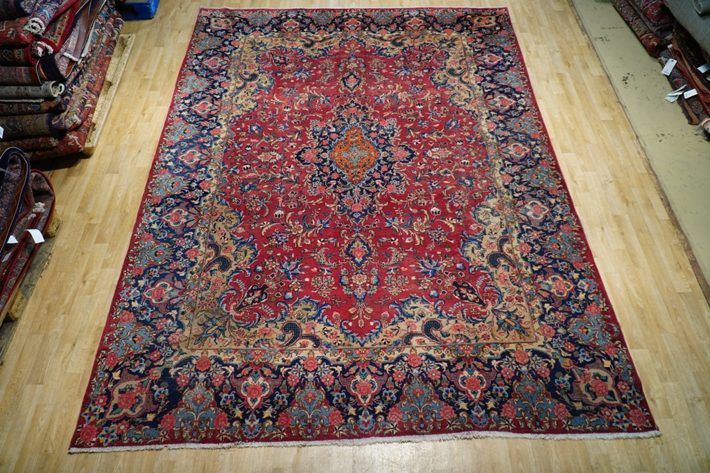 Image Is Loading Timeworn Vintage Signed Persian Kerman Open Field Rug