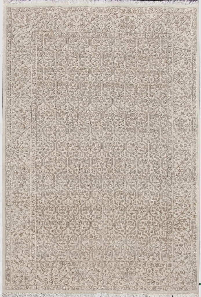 all over floral hand knotted new rug fine 6x9 wool silk. Black Bedroom Furniture Sets. Home Design Ideas