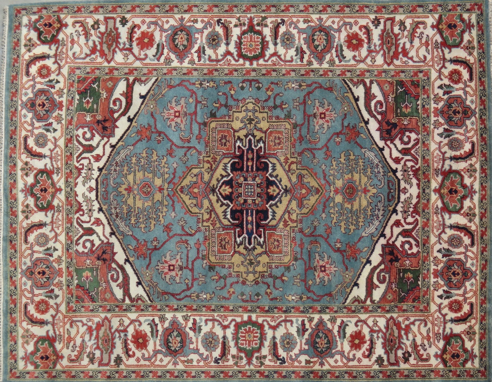 sea blue exclusive design serapi hand knotted 8x10 rug
