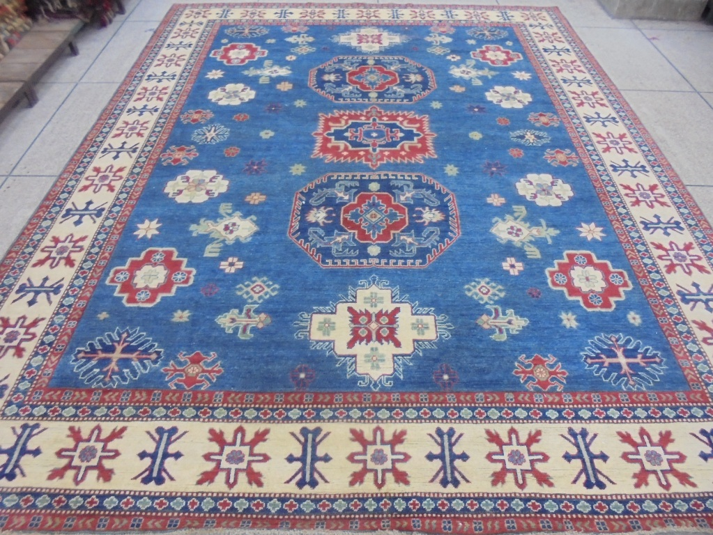 Royal Blue Hand Knotted Rug 10x12 Kazak Carpet Wool On