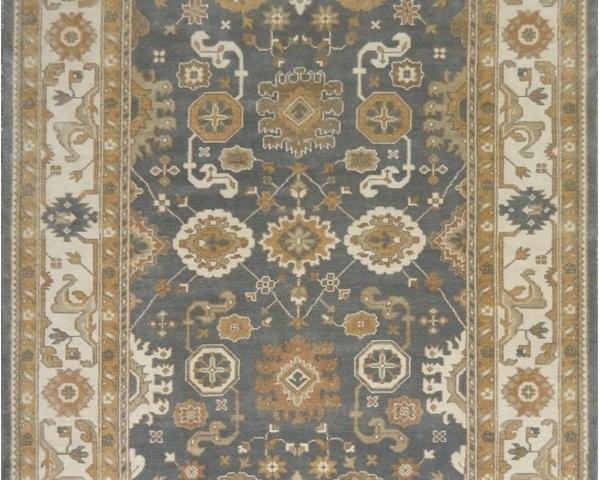 Slate Blue Ivory Handmade Area Rug 10 X 14 Floral Stylized