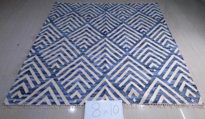 Blue Ivory Modern Kilim Rug 5x8 6x9 8x10 9x12 10x14 12x15