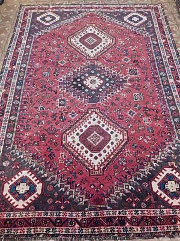 Nightingales Birds Red 7x9 Shiraz Rug Handmade Tribal