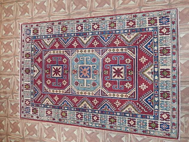 Islamabad Area Rug 4x6 Kitchen Carpet Hand Knotted Kazak