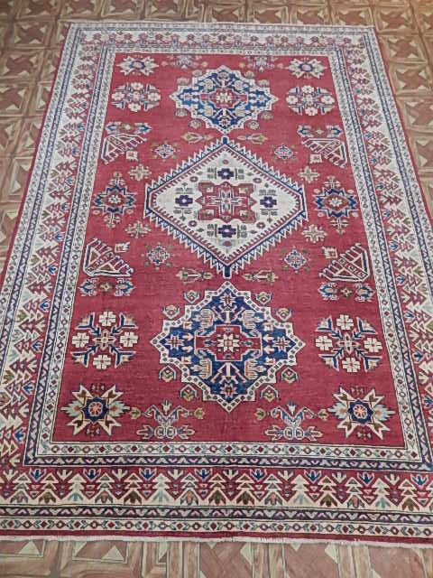 Hand Knotted Area Rug 6x8 Kazak Lahore Weavers Charming