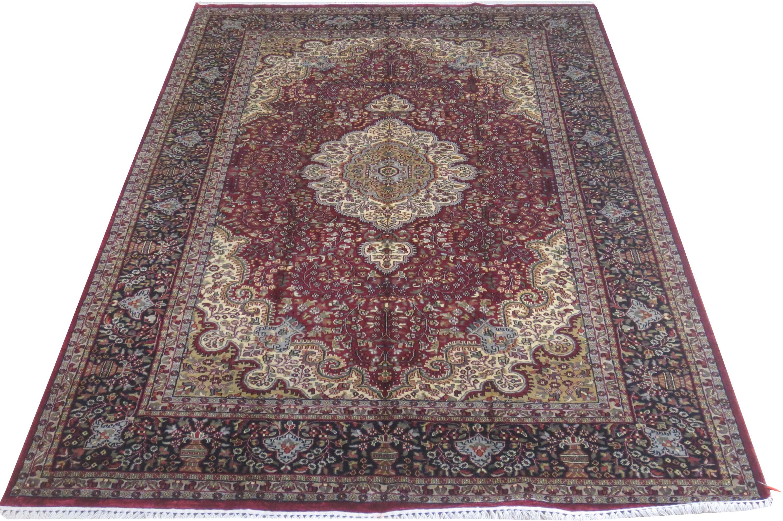 Black 6 X 9 Persian Design Rugs Sale Art Silk Kashmir Handmade Burgundy Rug