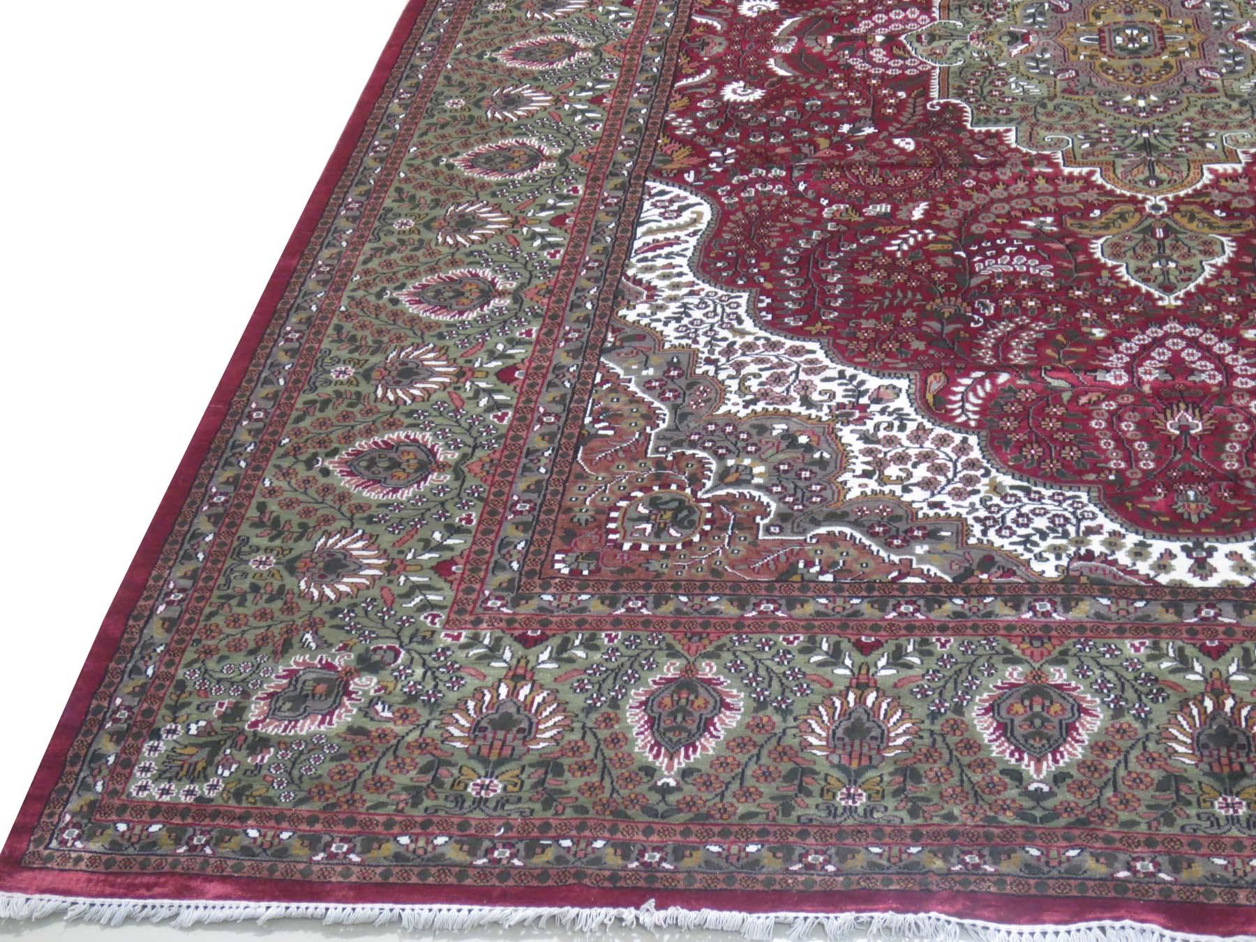 burgundy kashmir bamboo silk rugs handmade rug 10 x 15 persian design carpet. Black Bedroom Furniture Sets. Home Design Ideas