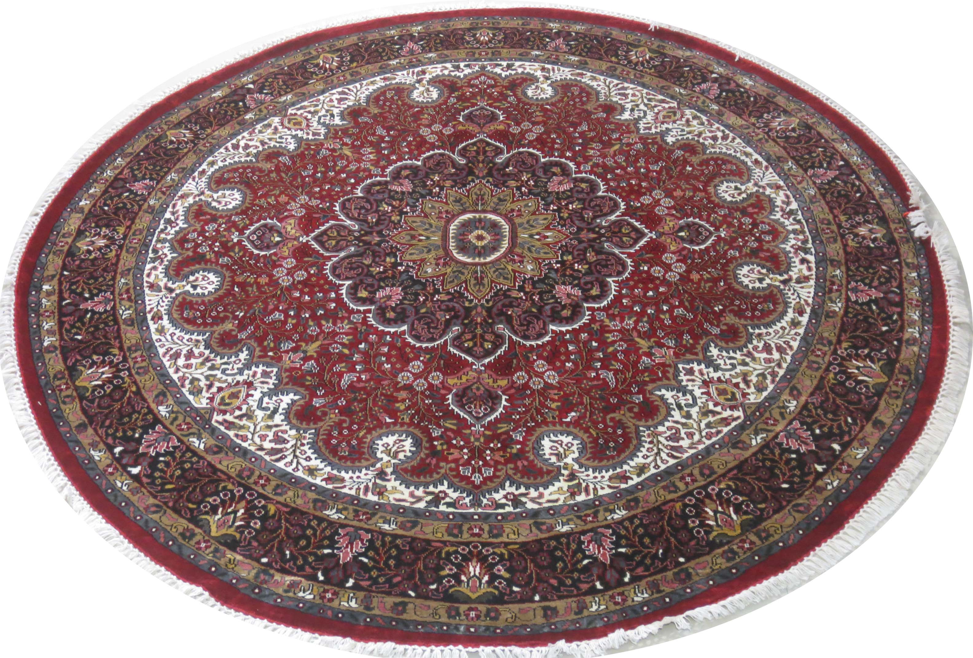 Round persian design carpet silk jammu rugs for kitchen for Traditional kitchen rugs