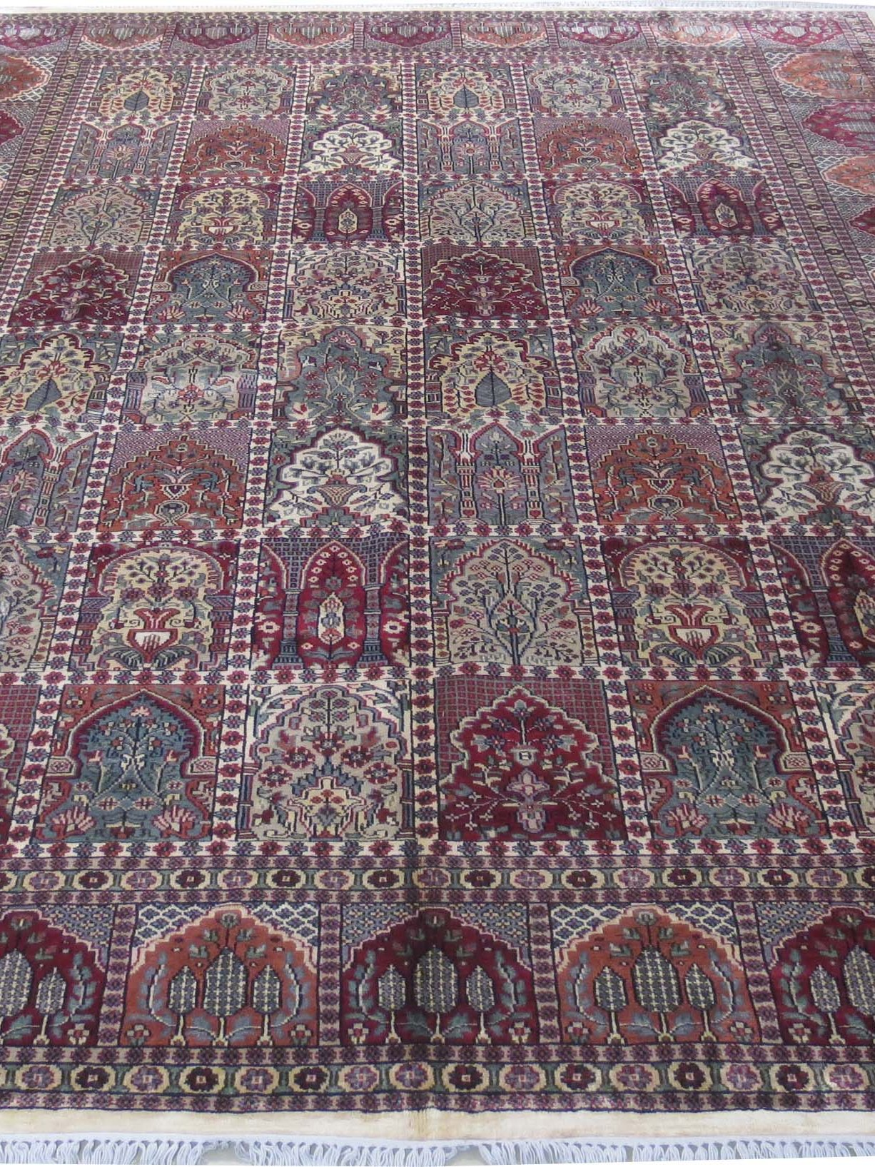 Indian Jammu Hand Knotted Rug 9 X 12 Rich Cotton Silk