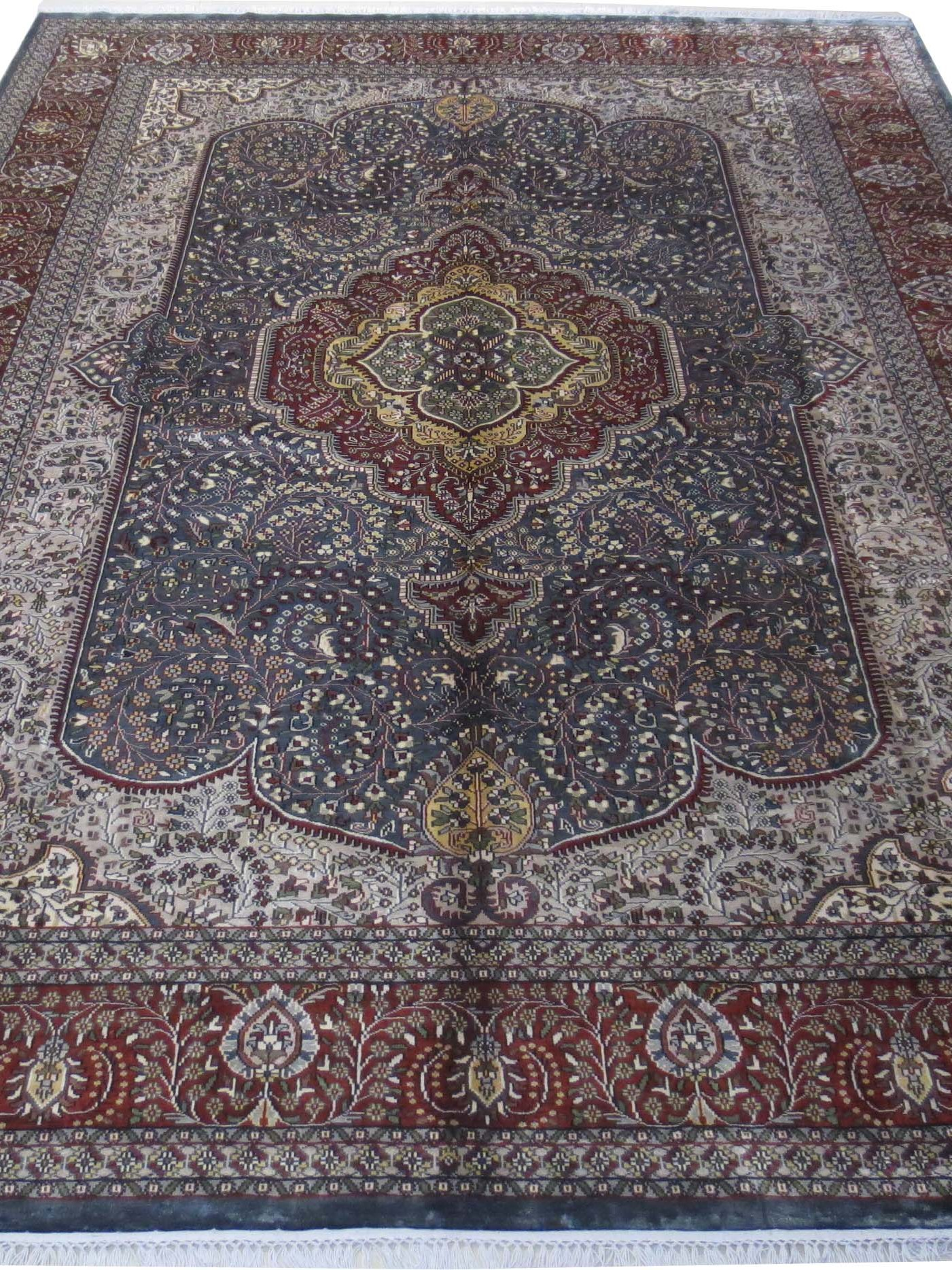 Traditional Gray Cotton Silk Oriental Jammu Rugs Hand