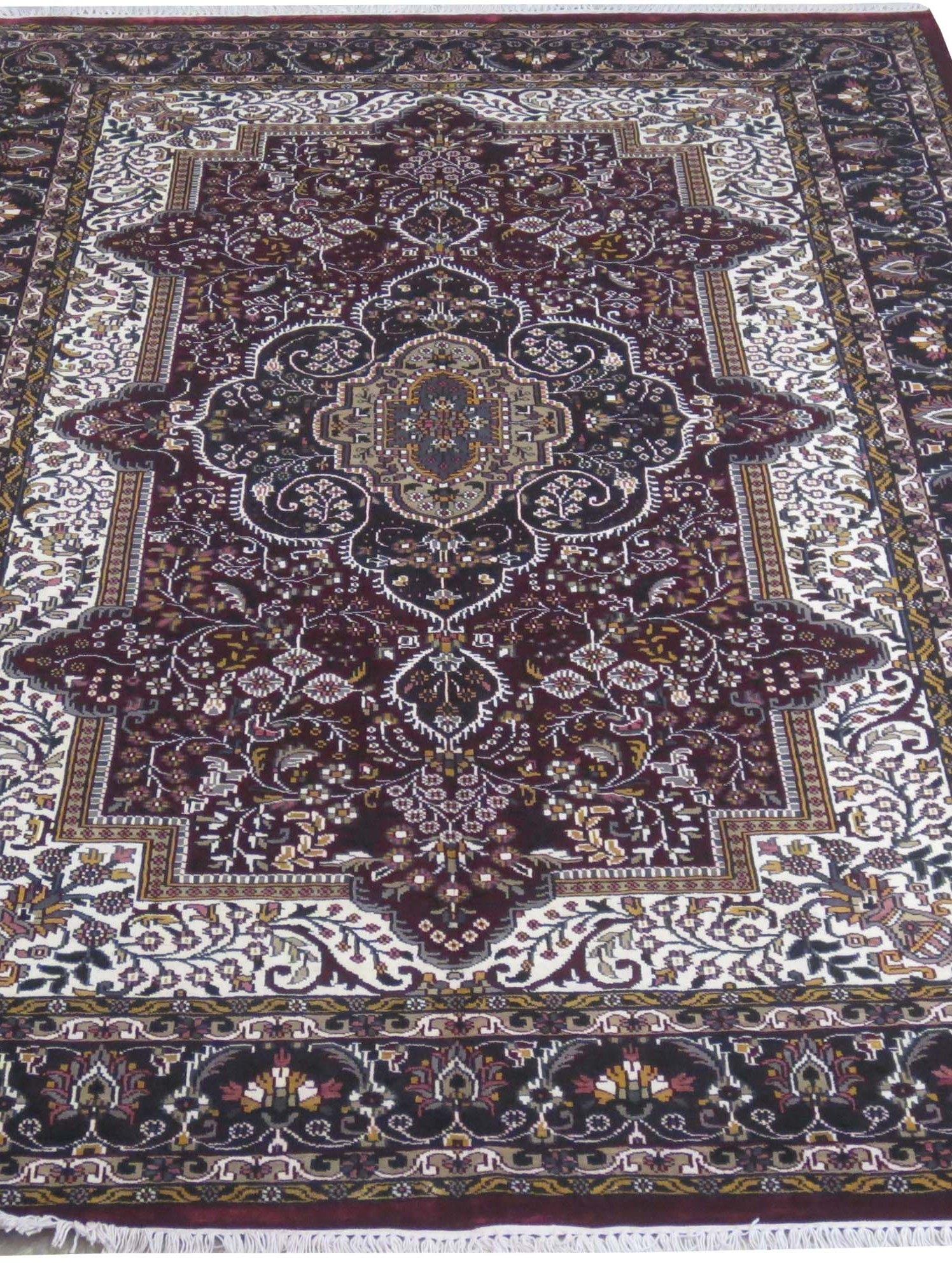Affordable Traditional Handmade Kashmir Silk Burgundy 6 X