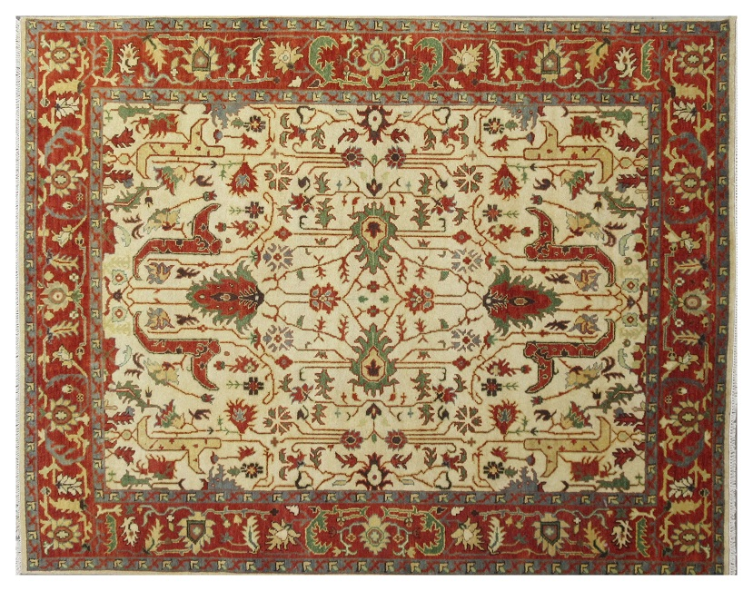 Persian Mahal Design Ivory New Rug Handmade 8x10 Indian