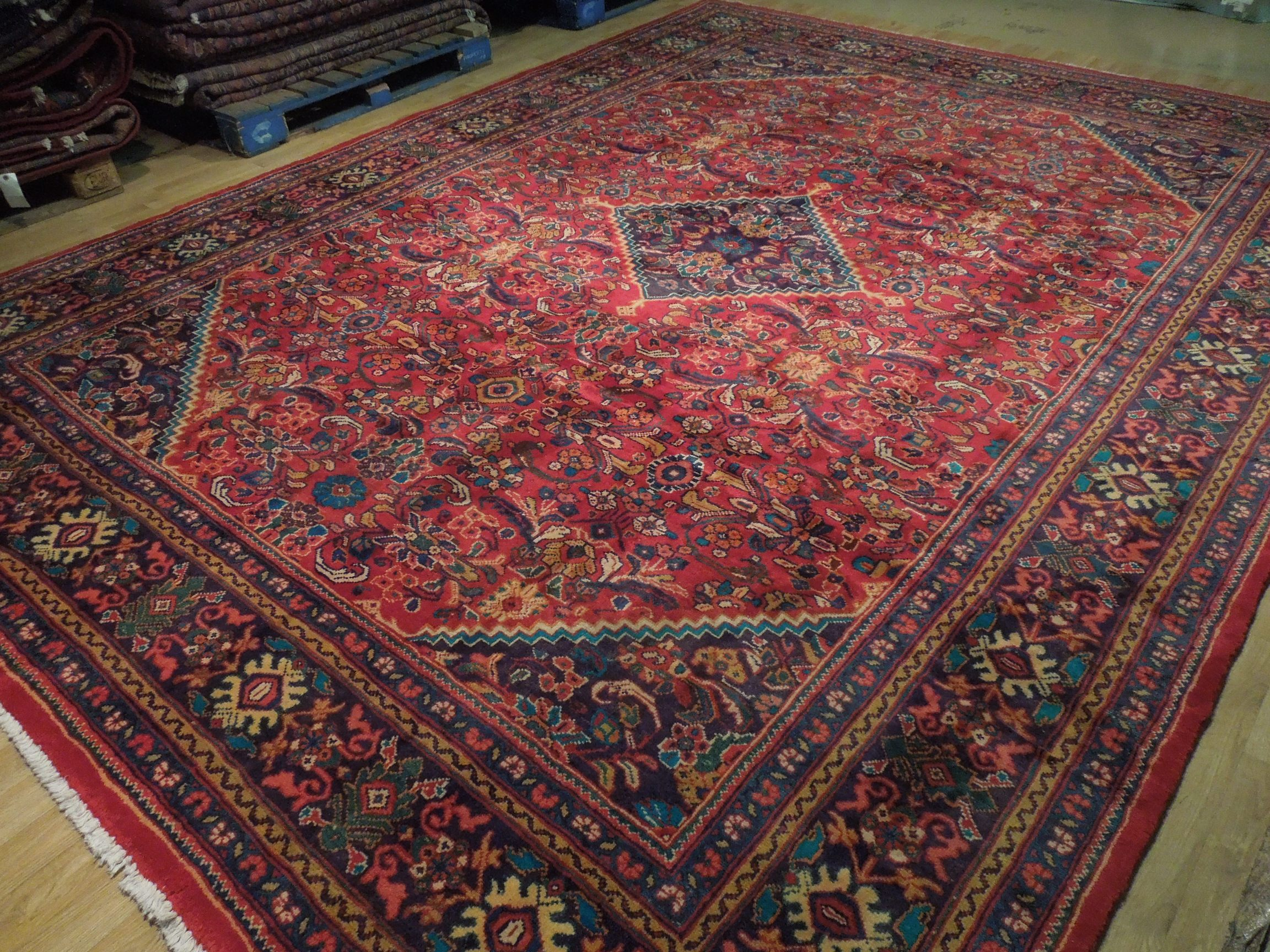 Durable Semi Antique Red Herati Persian Wool Genuine Hand Knotted Rug 10x13 Rug Ebay