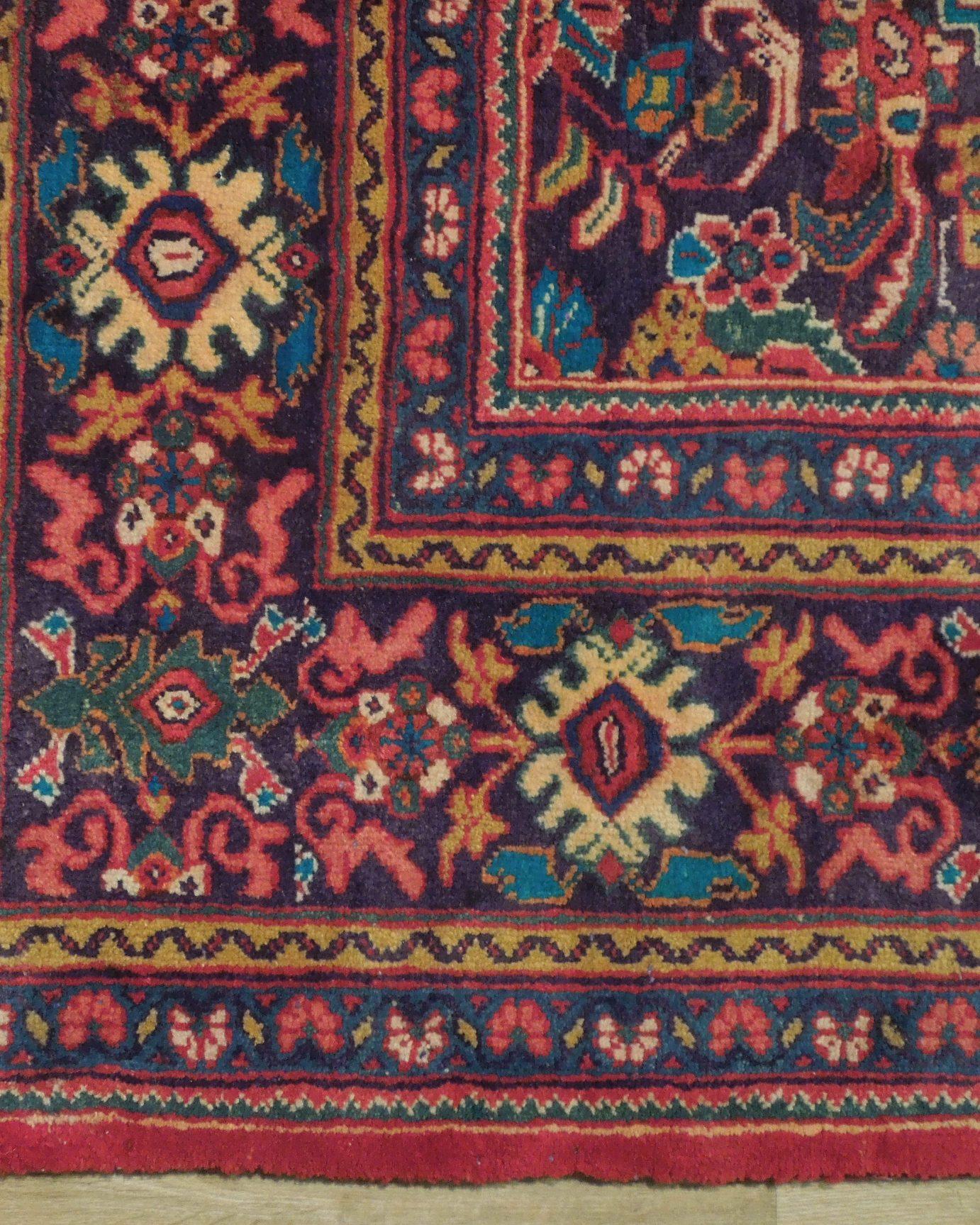 Durable Semi Antique Red Herati Persian Wool Genuine Hand