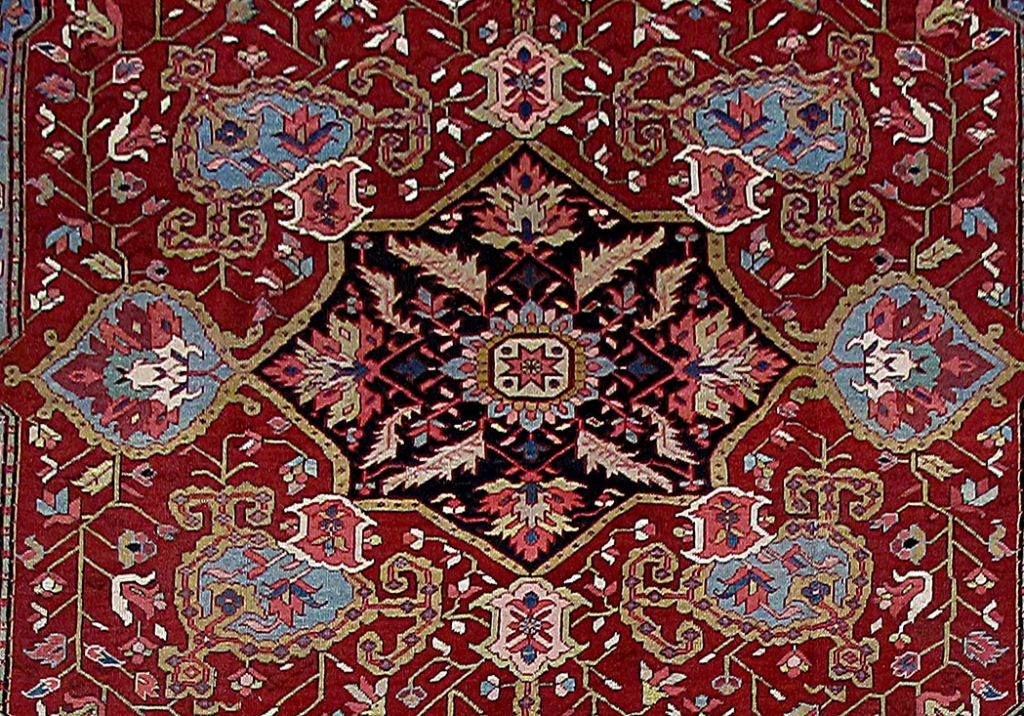Hand Knotted Rug 12 X 15 Persian Heriz Bold Patterns
