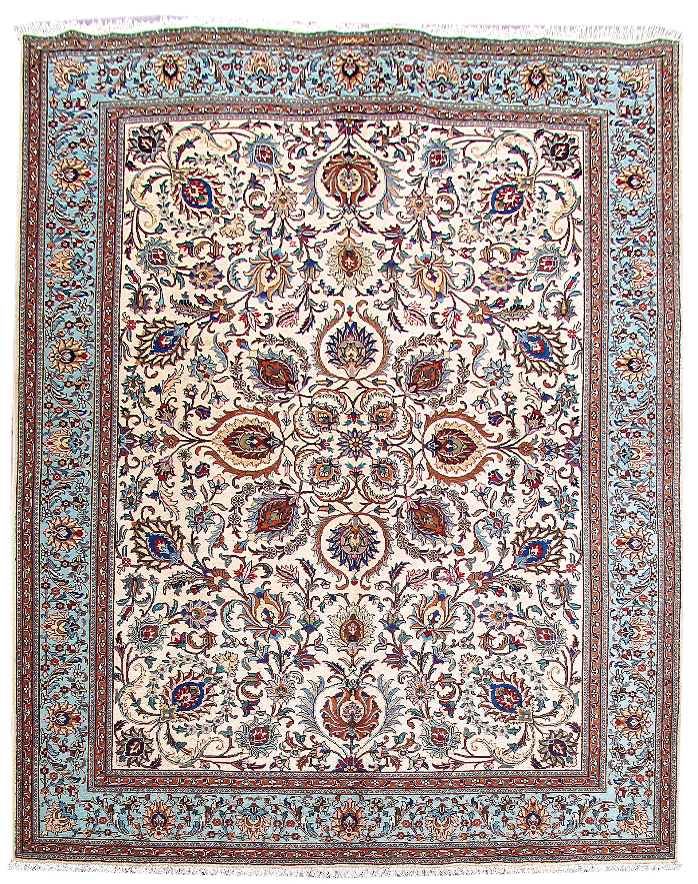 Hand Knotted Rug 10 X 13 Persian Tabriz Carpet