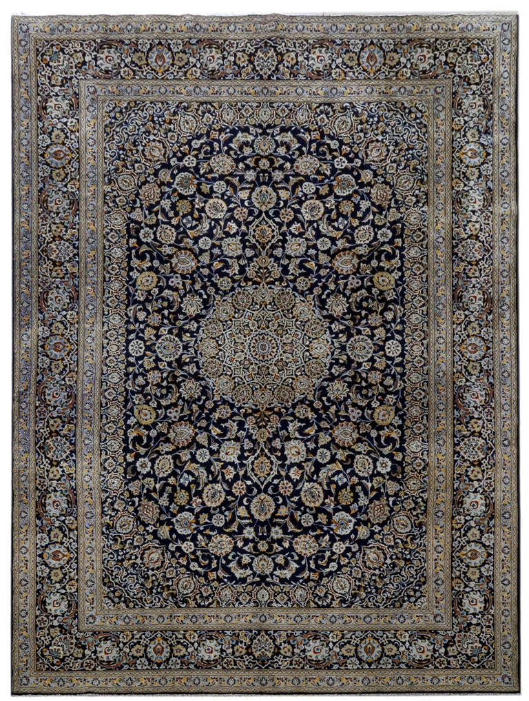 Details About Persian Rug Hand Knotted 10x14 Kashan Signed Rugs Navy Blue