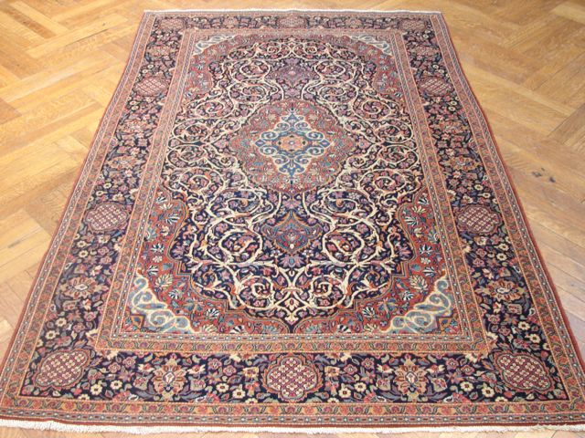 4x7 Hand Knotted Persian Kashan Rug